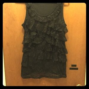 Tiered Black Lace Ruffle Tank Top